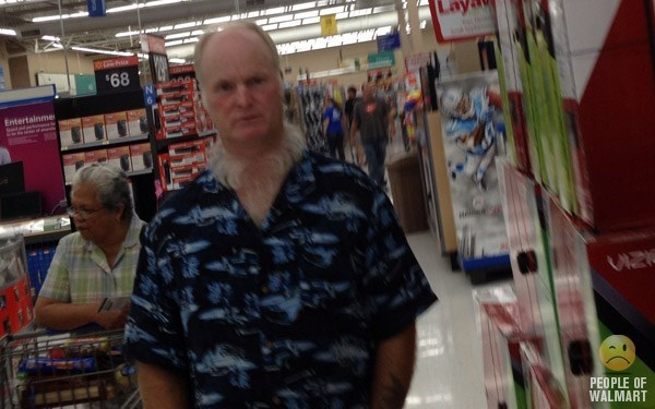 man wearing blue and black shirt has white beard only on his neck people of walmart memes
