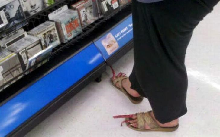 person has disgusting long toenails coming out of sandals people of walmart memes