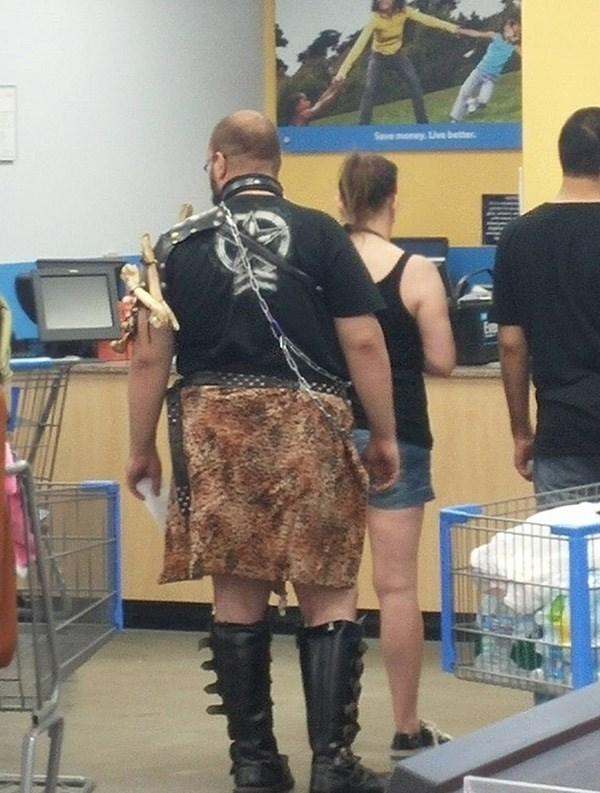man wearing medieval hunting skirt outfit people of walmart memes