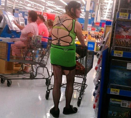 woman pushing trolley in green backless strappy dress people of walmart memes