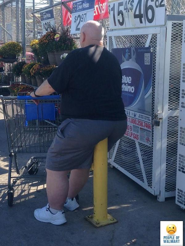 fat man sitting on yellow pole people of walmart memes