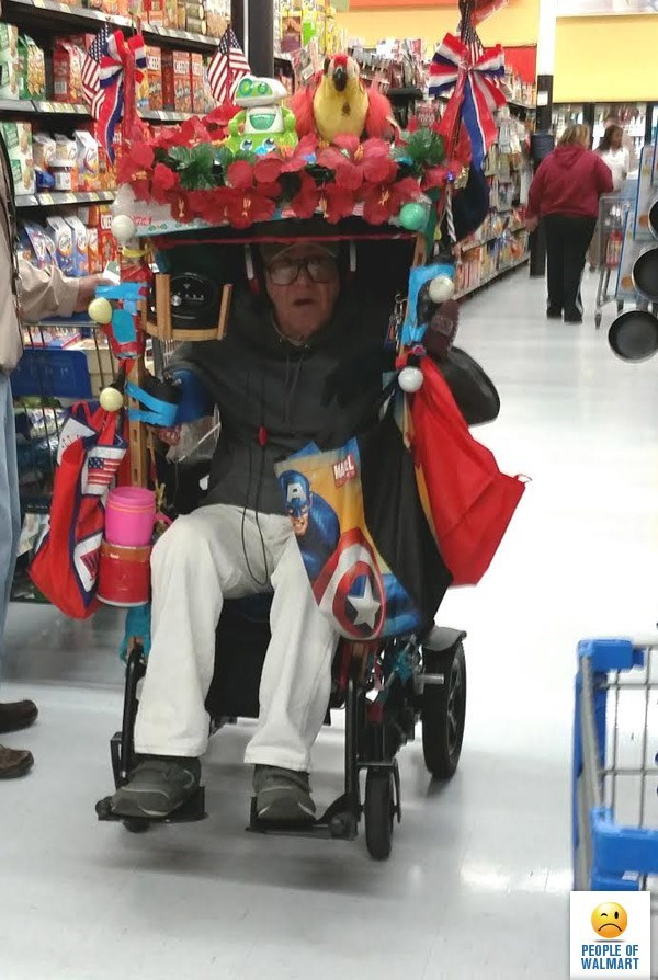 old man in wheelchair with canopy over his head covered in stuffed toys people of walmart memes