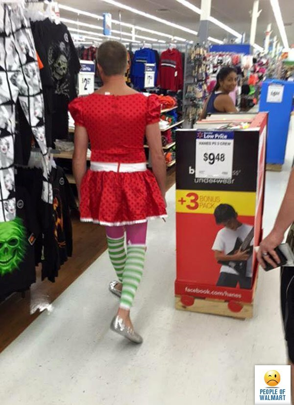 person dressed in small red dress with stripy green socks people of walmart memes