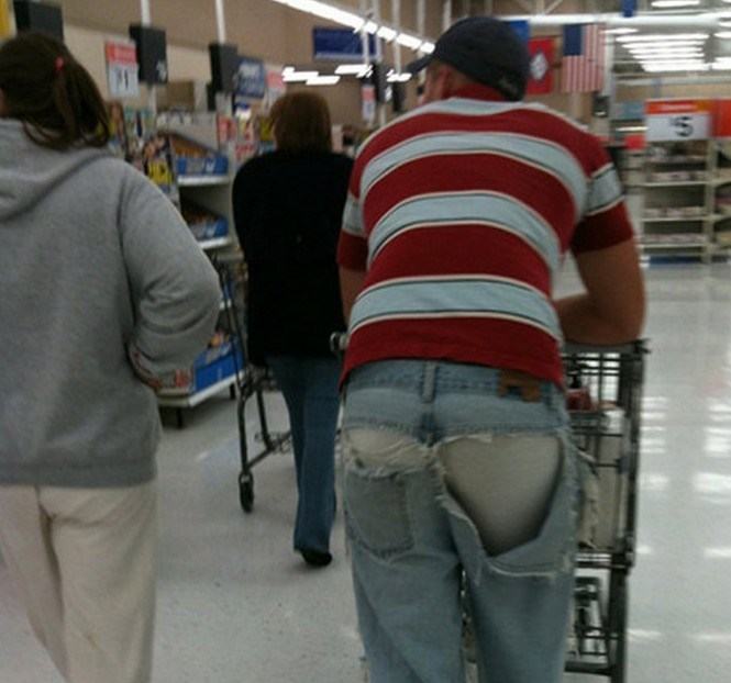 man pushing trolley with back of jeans ripped revealing underwear people of walmart memes