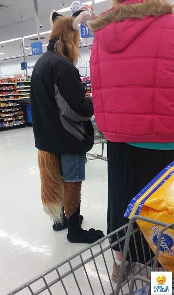 Man wearing jacket with fox's tail ears and feet people of walmart memes