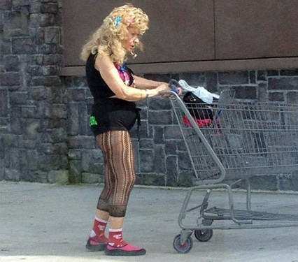 woman pushing trolley wearing short shorts and tights people of walmart memes