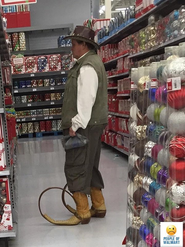 man wearing hunting clothes with crocodile dundee hat and cowboy boots with curling toes people of walmart memes