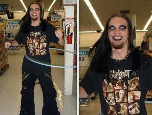 goth wearing slipknot shirt with dark makeup and long hair hula hooping people of walmart memes
