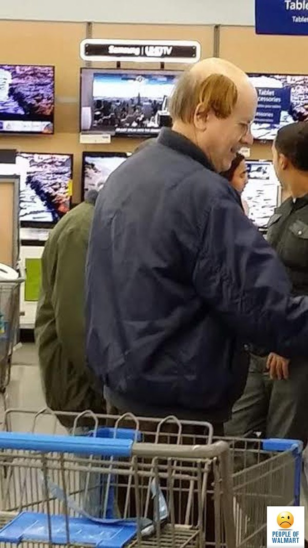 balding man with fake piece of hair stuck to side of his head people of walmart memes