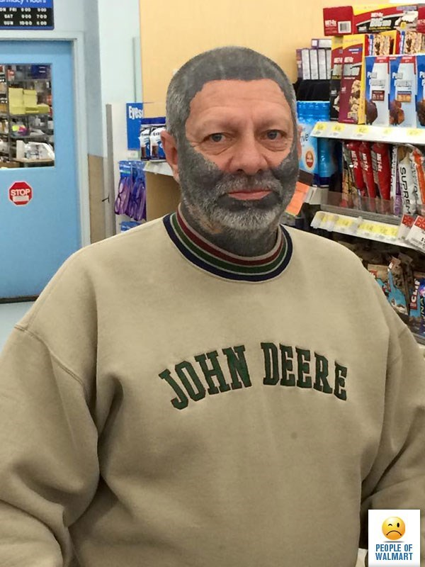 man with grey paint all over head except eyes and nose people of walmart memes
