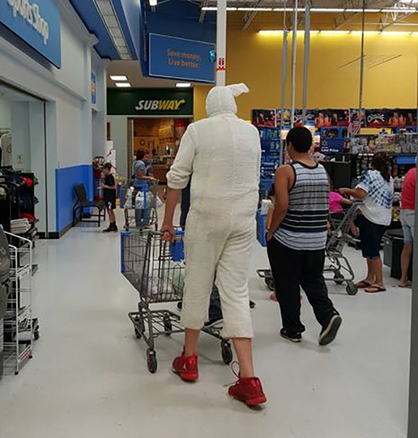 tall person wearing white onesie people of walmart memes