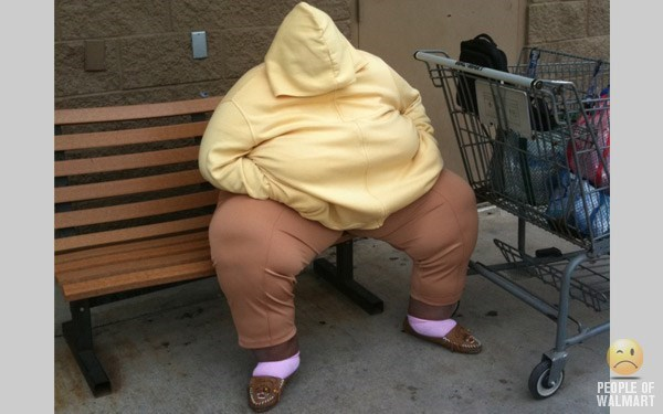 obese person sitting on bench sleeping with hood over face people of walmart memes
