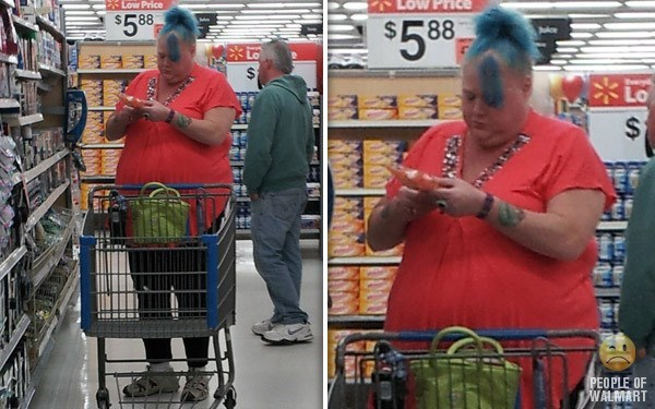 fat woman in red shirt blue hair people of walmart memes
