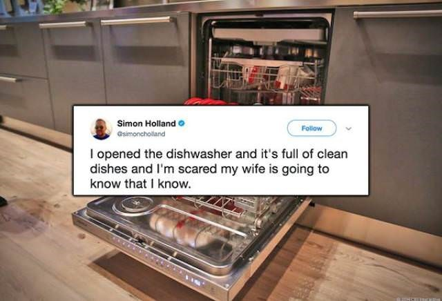 Kitchen appliance - Simon Holland Follow Gsimoncholland I opened the dishwasher and it's full of clean dishes and I'm scared my wife is going to know that I know.