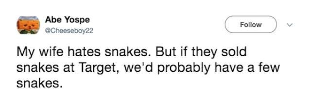 Text - Abe Yospe @cheeseboy22 Follow My wife hates snakes. But if they sold snakes at Target, we'd probably have a few snakes