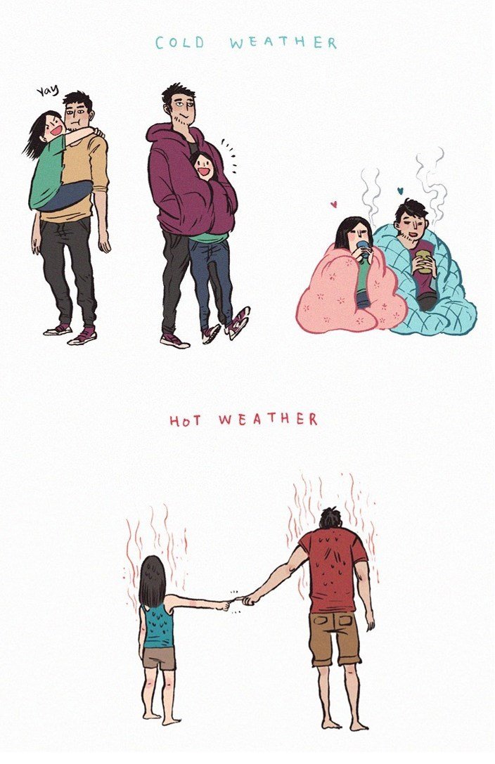 meme - People - COLD WEATHER Yay WEATHER HoT