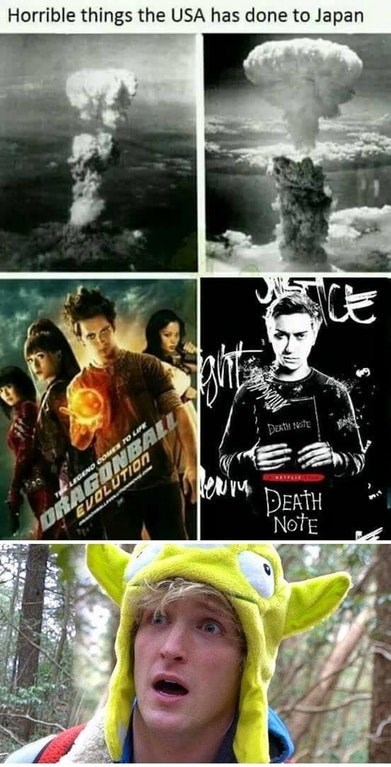 """Poster - Horrible things the USA has done to Japan DRAGONBALL EVOLUTIOn ur DETH """"NotE"""
