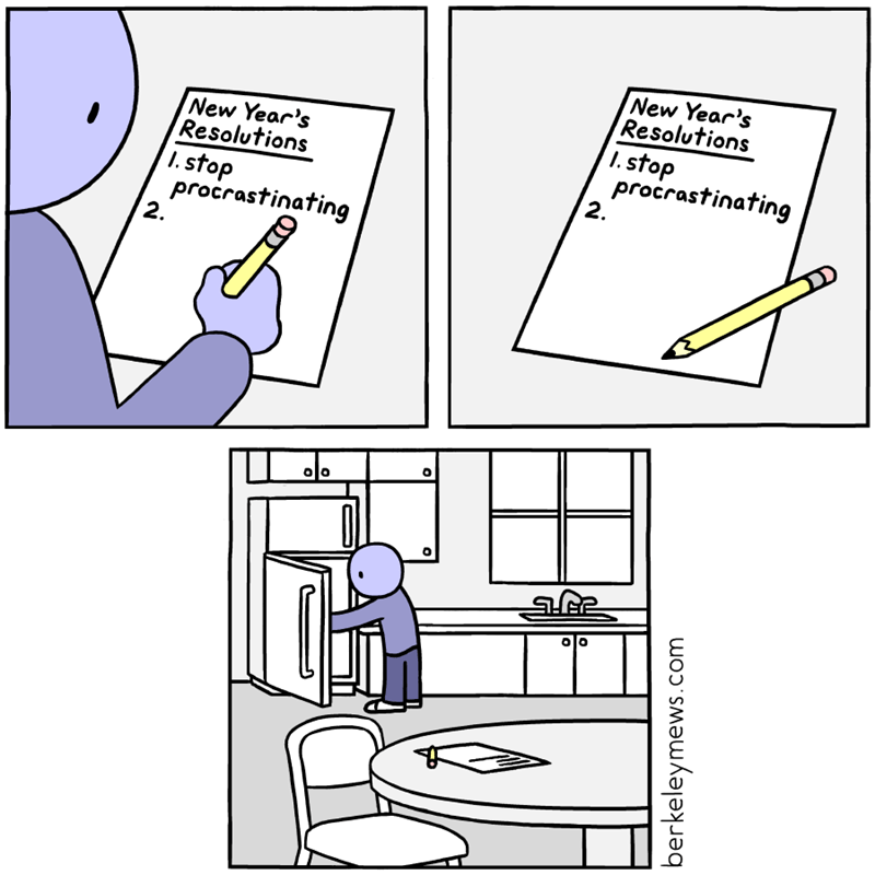 Funny web comic about new years resolution to stop procrastinating, immediately starts procrastinating.