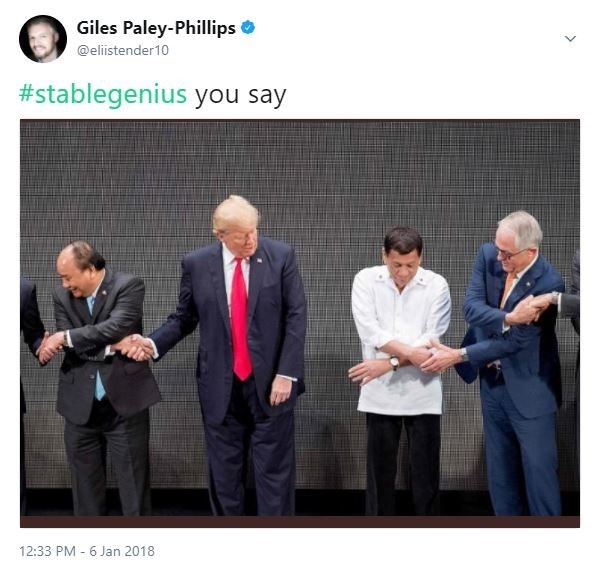 Product - Giles Paley-Phillips @elistender10 #stablegenius you say 12:33 PM 6 Jan 2018