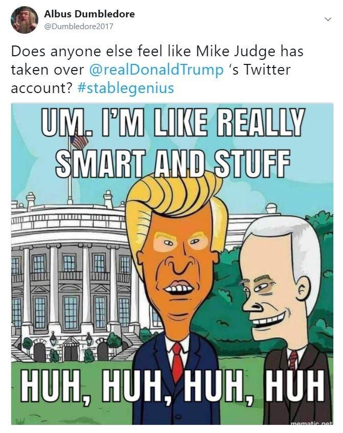 Cartoon - Albus Dumbledore @Dumbledore2017 Does anyone else feel like Mike Judge has taken over @realDonaldTrump 's Twitter account? #stablegenius UM. I'M LIKE REALLY SMART AND STUFF HUH, HUH, HUH, HUH mematic net