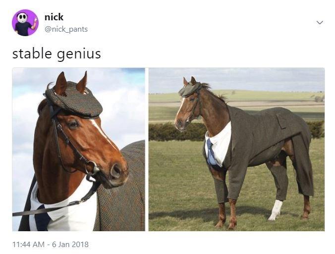 Horse - nick @nick_pants stable genius 11:44 AM 6 Jan 2018