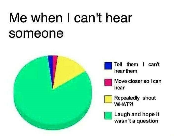 Text - Me when I can't hear someone Tell them can't hear them Move closer so l can hear Repeatedly shout WHAT?! Laugh and hope it wasn't a question
