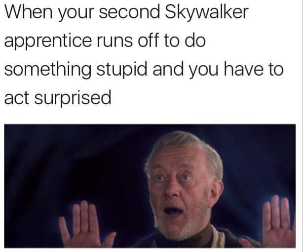 Text - When your second Skywalker apprentice runs off to do something stupid and you have to act surprised