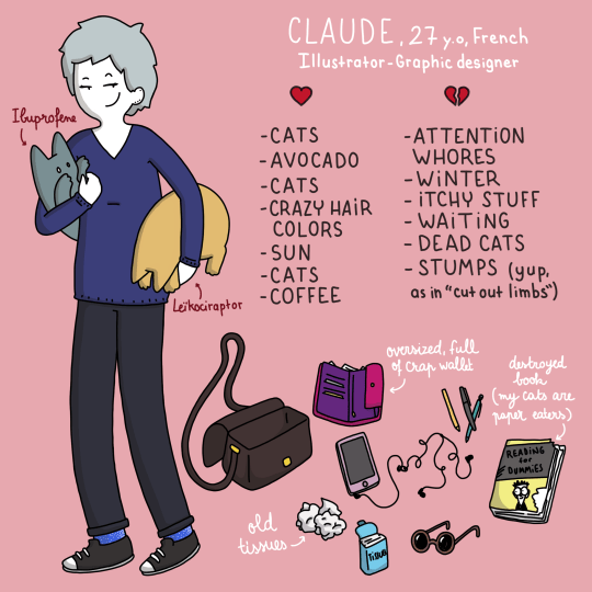 "Cartoon - CLAUDE,27 y0, French Tllustrator-Graphic designer Ieaprofers -CATS -ATTENTION WHORES -WINTER - ITCHY STUFF - WAITING - DEAD CATS - STUMPS (yup, as in ""cut out limbs"") -AVOCADO -CATS CRAZY HAIR COLORS -SUN -CATS ' Leikociraptor COFFEE ovosized, full of Crap wallst dunbroyed LGook (my cats ane Taper eatens) READING der DUMPiES ld tisres"