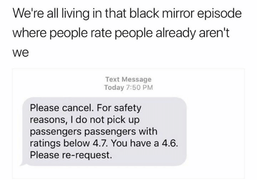 Funny meme of being canceled on for a ride ala Black Mirror style