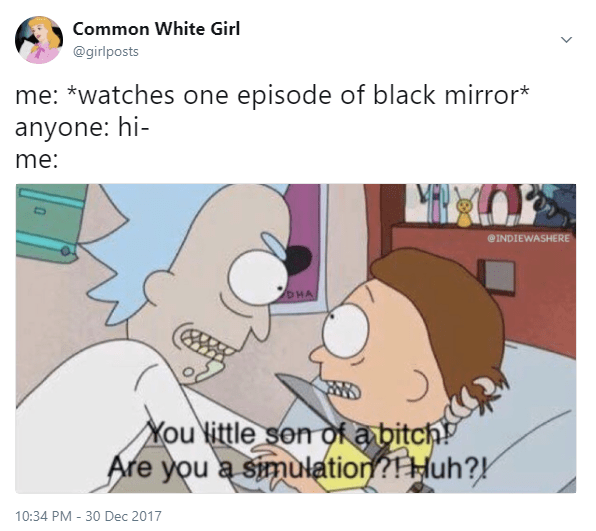 rick and morty meme about black mirror