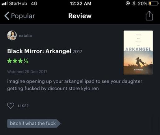 Review of Arkangel that has a Kylo Ren twist to it