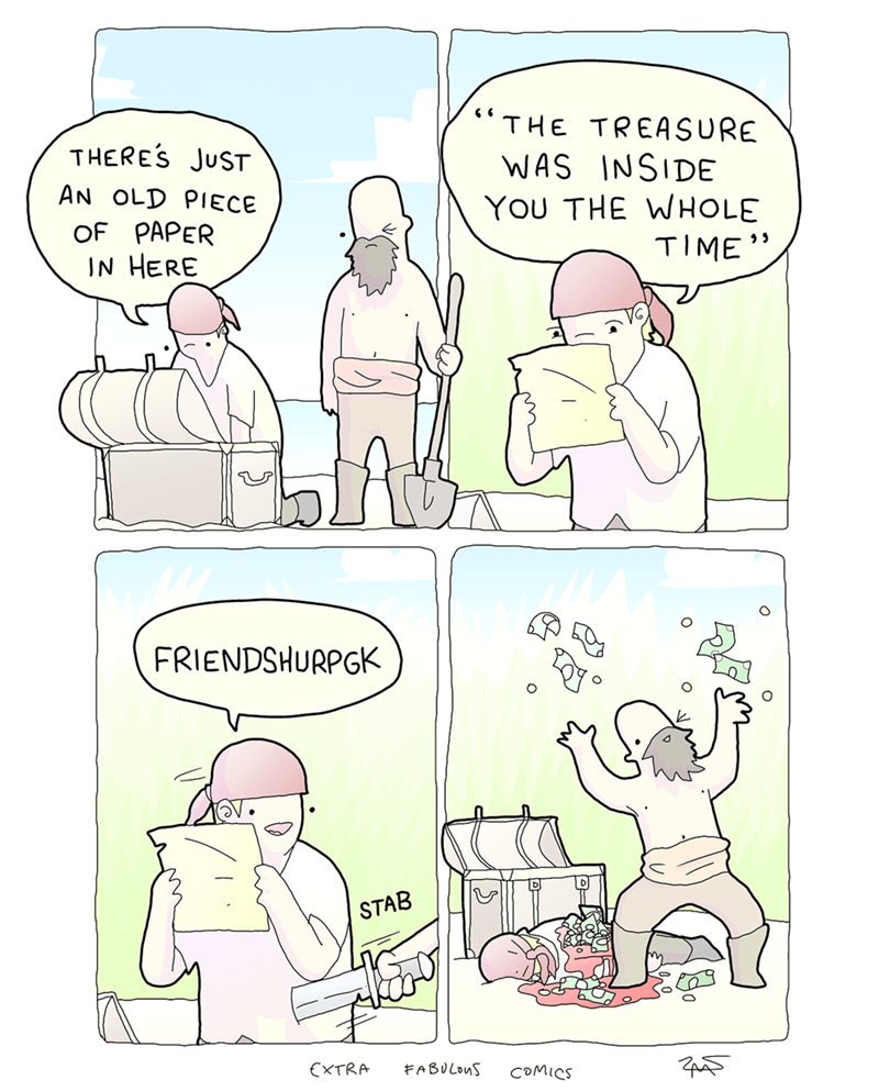funny web comic about looking for treasure.