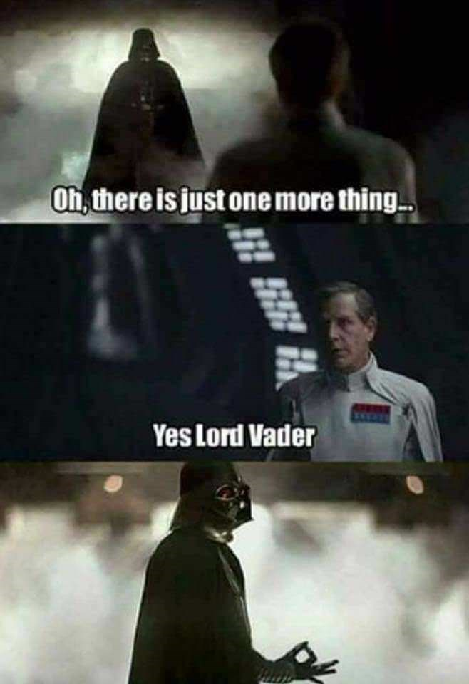 Fictional character - Oh, there is just one more thing Yes Lord Vader