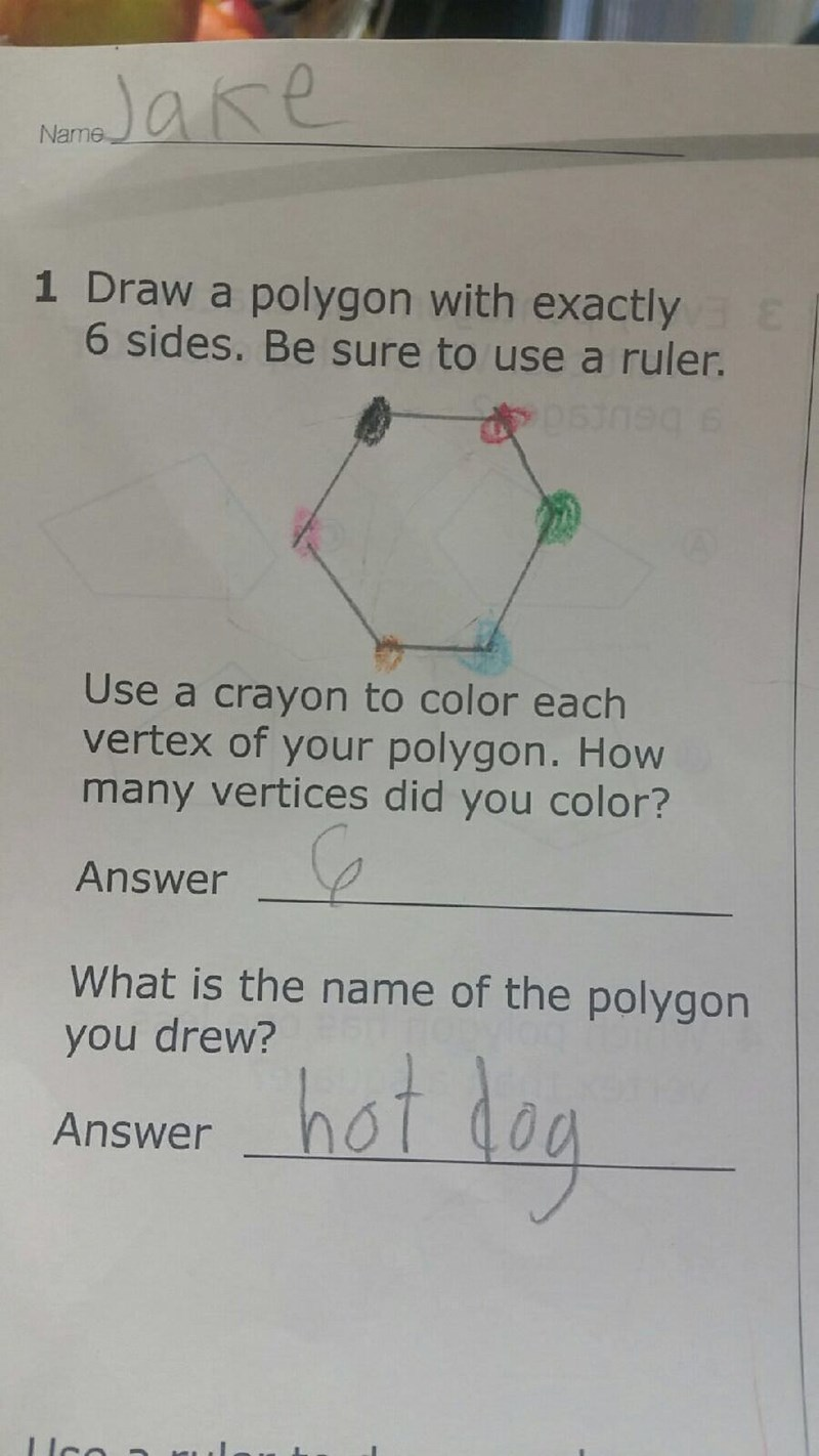 Text - are Name 1 Draw a polygon with exactly Ca E 6 sides. Be sure to use a ruler. 9 e Use a crayon to color each vertex of your polygon. How many vertices did you color? Answer What is the name of the polygon hat log you drew? Answer Ilco