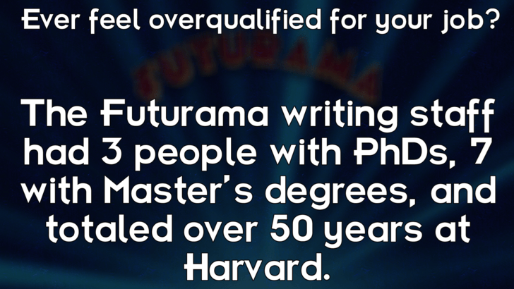 Text - Ever feel overqualified for your job? The Futurama writing staff had 3 people with PHDS, 7 with Master's degrees, and totaled over 50 years at Harvard.