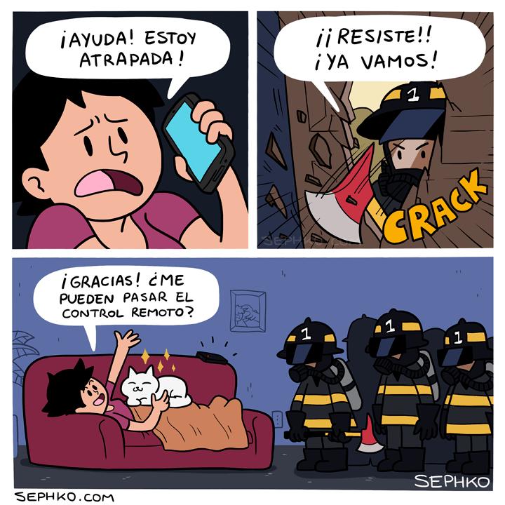 ayuda estoy atrapada chica llama a los bomberos gato