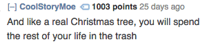 Text - H CoolStoryMoe 01003 points 25 days ago And like a real Christmas tree, you will spend the rest of your life in the trash