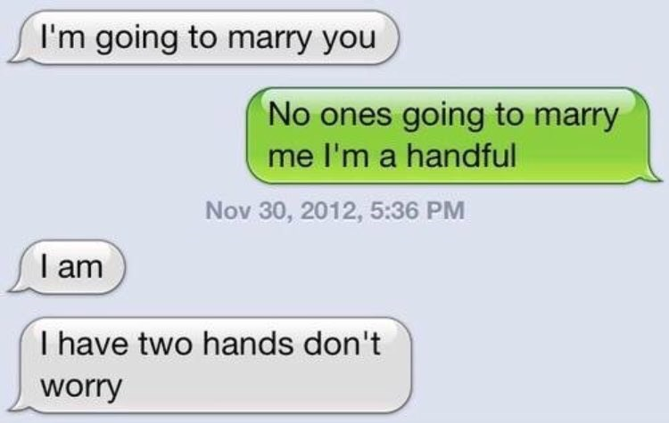 Text - I'm going to marry you No ones going to marry me I'm a handful Nov 30, 2012, 5:36 PM I am I have two hands don't worry