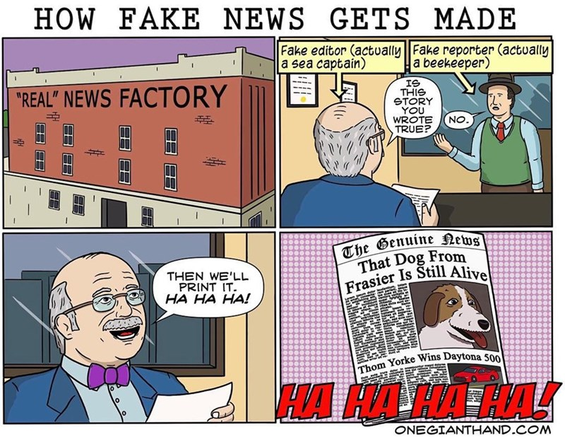 """webcomic - Cartoon - HOW FAKE NEWS GETS MADE Fake editor (actually  Fake reporter (actually a sea captain) a beekeeper) IS THIS STORY YOU WROTE TRUE? """"REAL"""" NEWS FACTORY ON The Genuine News That Dog From Frasier Is Still Alive THEN WE'LL PRINT IT. HA HA HA! Thom Yorke Wins Daytona 500 ONEGIANTHAND.COM H"""
