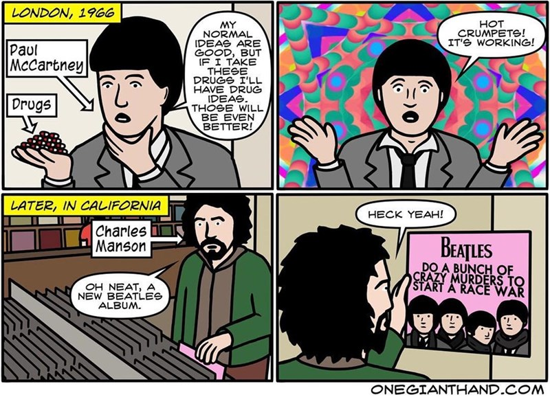 webcomic - Comics - LONDON, 1966 HOT CRUMPETS! IT'S WORKING! MY NORMAL IDEAS ARE GOOD, BUT IF I TAKE THESE DRUGS I'LL HAVE DRUG IDEAS THOSE WILL BE EVEN BETTER! Paul Mccartney LATER, IN CALIFORNIA HECK YEAH! Charles Manson BEATLES DO A BUNCH OF CRAZY MURDERS TO START A RACE WAR OH NEAT, A NEW BEATLES ALBUM ONEGIANTHAND.COM