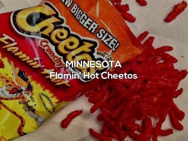 Food - BIGGER SIZE! Cheet MAI REAL C Flamin MINNESOTA Flamin Hot Cheetos Crunchy GUARANTEED TL PRINED NOV 1 49 018.34