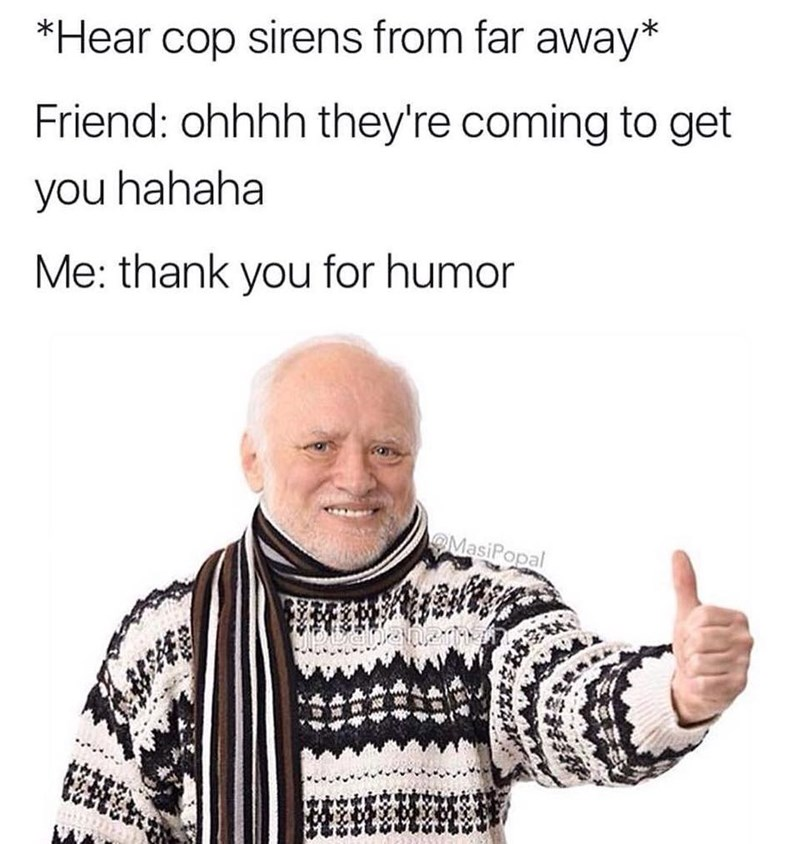 meme - Text - *Hear cop sirens from far away* Friend: ohhhh they're coming to get you hahaha Me: thank you for humor O MasiPopal
