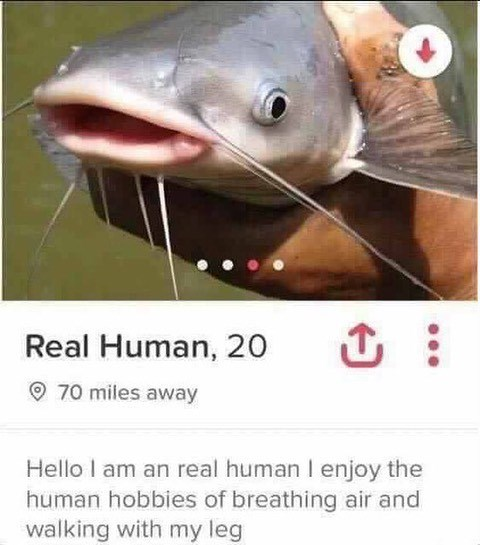 meme - Fish - Real Human, 20 70 miles away Hello I am an real human I enjoy the human hobbies of breathing air and walking with my leg
