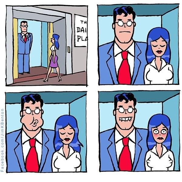 superman sopla para que se le paren los pezones a companera de ascensor