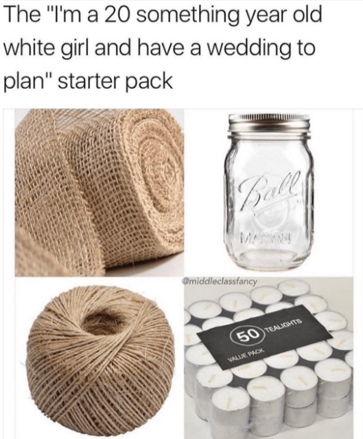 starter pack for a young girl planning a wedding