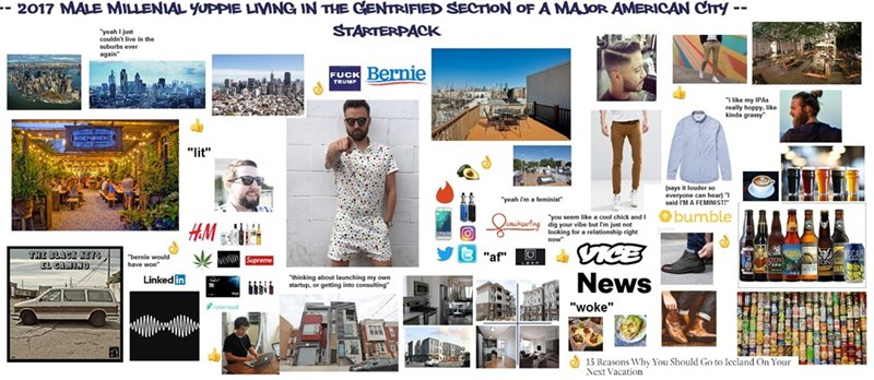 starterpack for a millennial yuppie living in a big city