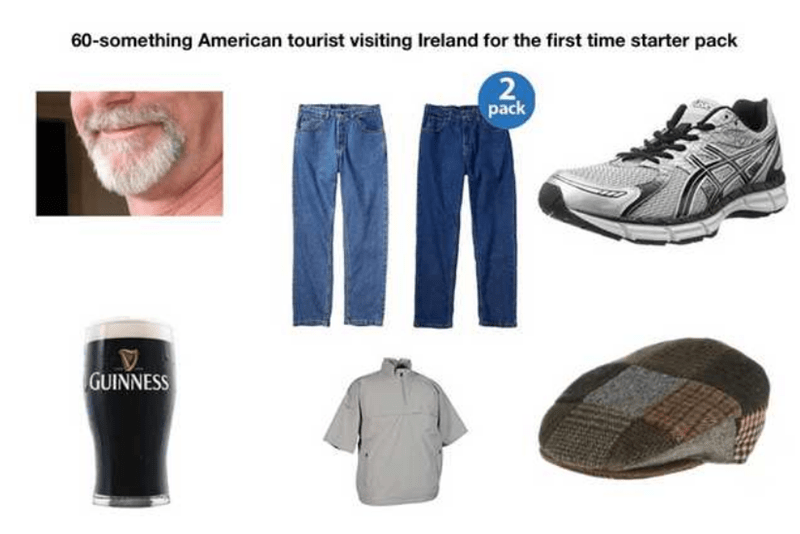 starter pack for american tourist visiting Ireland for the first time