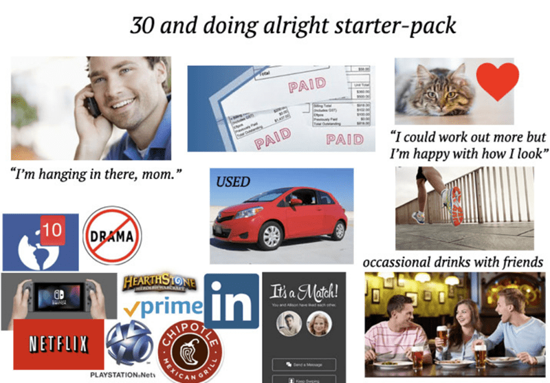 starterpack for a 30 year old who is doing okay for themselves