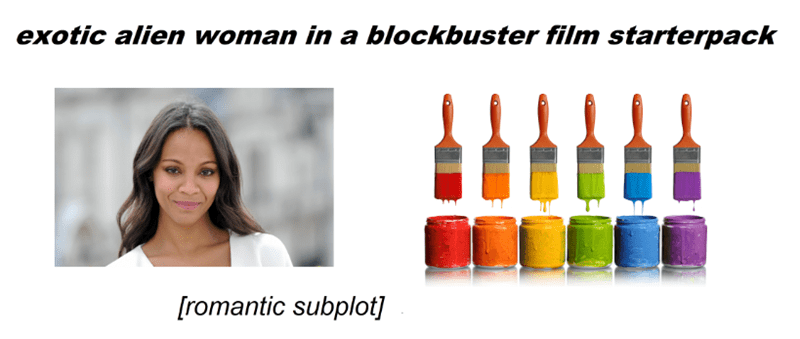 starter pack for an exotic alien woman in a blockbuster film