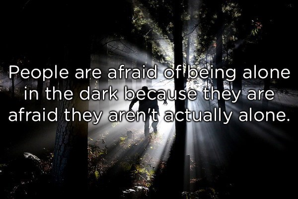 Text - People are afraid offbeing alone in the dark because they are afraid they aren t actually alone.